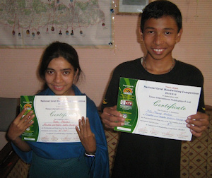 Manoj and Rebika  with their certificates
